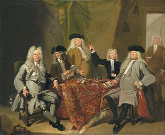 "The Inspectors of the Collegium Medicum in Amsterdam, by Cornelis Troost, 1724. This period is known as the ""Periwig Era"". Cornelis Troost02.jpg"