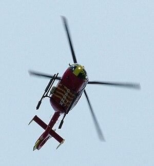 Cornwall Air Ambulance - Overhead at Polzeath, August 2008