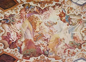 Cosmas Damian Asam - Triumph of Apollo on ceiling of the Schloss (castle) in Alteglofsheim near Regensburg (1730)