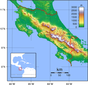 Outline of Costa Rica - An enlargeable topographic map of Costa Rica