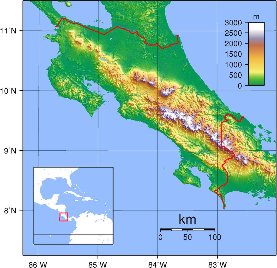 Costa Rica Topography
