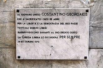 Kostas Georgakis - Plaque in memoriam of Kostas Georgakis in Matteotti Square, Genoa