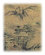 Landscape with mountains, a stream, trees and a hut.