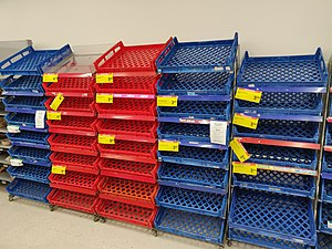 Empty bread shelves at a supermarket in Wellington after panic buying