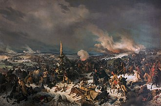 Cossacks and Bashkirs attacking French troops at the Berezina Crossing the Berezina River, by Peter von Hess.jpg