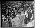 Crowd greets Czech Minister as he leaves conference with Secretary Hull. Washington, D.C., Sept. 27. War days of 1917 were recalled today as a crowd gathered before the entrance to the State LCCN2016874054.jpg