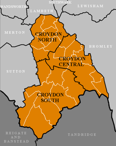 The 3 constituencies of the London Borough of Croydon, Croydon North, Croydon Central and Croydon South Croydon Constituencies.PNG
