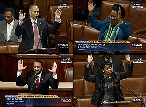 Hands up, don't shoot - Reps. Jeffries (D-NY), Lee (D-Tex.), Green (D-Tex.) and Clarke (D-NY) making the gesture