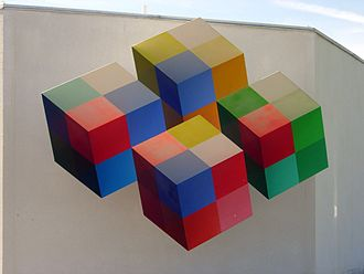 "Heureka (science center) - The symbol of Heureka, Neljä kuutiota (""Four cubes""), is an optical illusion appearing to be a group of cubes"