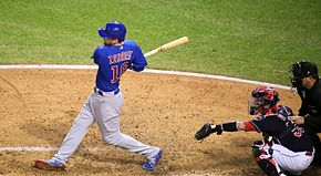Cubs outfielder Ben Zobrist swings at a pitch during World Series Game 7. (30108530553).jpg