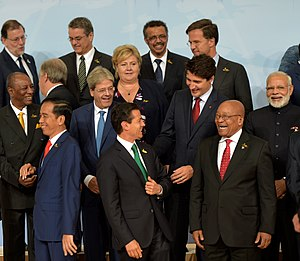 2017 G20 Hamburg summit - Leaders having chat at the photo-session