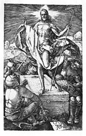 Black-and-white-engraving of the resurrection of Jesus. Jesus stands atop a stone in the center of the picture, dressed in flowing robes. He carries a staff in one hand and makes a sign of peace with the other; light radiates from his head. Around him soldiers dressed in armor cover their eyes or cower in fear and awe.