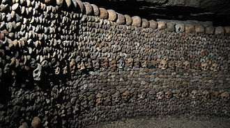 Catacombs of Paris - Wall made of skulls