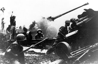 Easter Offensive - PAVN 130 mm artillery battery goes into action on the Kon Tum front