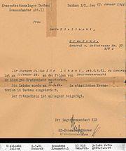 Ειδοποίηση από τη διοίκηση του στρατοπέδου στην κ. Ζελίνσκι, πως ο άντρας της πέθανε και το σώμα του αποτεφρώθηκε στο κρατικό κρεματόριο του στρατοπέδου