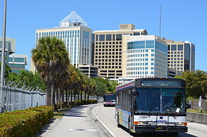 Metrobus (Miami-Dade County) - North end of the busway in Dadeland.