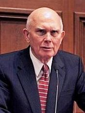 Photo of Dallin H. Oaks lecture at Harvard Law School.