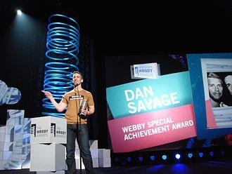 Social impact of YouTube - Image: Dan Savage receives Webby Award 01