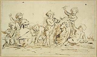 Design for a relief with six cherubs, symbolising geography (?) or the world (?)