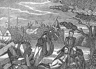 York, Upper Canada -  The Death of General Pike at the Battle of York . American engraving, 1839