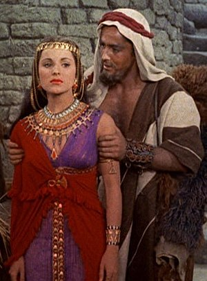 Debra Paget - With John Derek in the trailer for The Ten Commandments (1956)