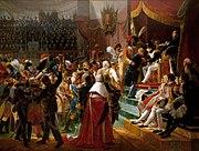 Debret: Primeira distribui��o de condecora��es da Legi�o de Honra. Tela realizada ainda na Fran�a, em 1812, ilustrando bem o estilo oficial franc�s levado para o Brasil por Debret e a Miss�o Francesa