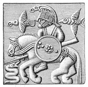 Huginn and Muninn - A plate from a Vendel era helmet featuring a figure riding a horse, holding a spear and shield, and confronted by a serpent. The rider is accompanied by two birds.