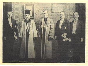 Vasile Goldiș - Vasile Goldiş (first from the left) as member of the Romanian Transylvanian delegation that brought to Bucharest the act of union of Transylvania with the Kingdom of Romania