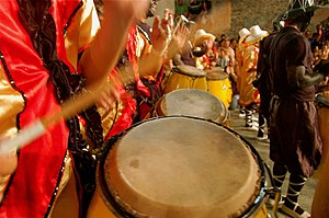 "Candombe -  A music troupe playing Uruguayan Candombe in the ""Desfile de Llamadas, through the Sur and Palermo neighborhoods, Montevideo (Uruguay)."
