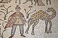 Detail of the 6th century AD mosaic in the Diakonikon Baptistry of the Moses Memorial Church depicting a hunting and herding scene interspersed with various animals, Mount Nebo, Jordan (26803880048).jpg