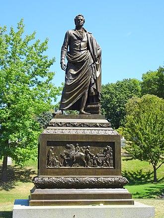 DeWitt Clinton - Clinton Memorial by Henry Kirke Brown, 1855, at Green-Wood Cemetery, Brooklyn, New York.