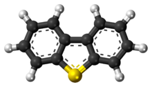 Ball-and-stick model of the dibenzothiophene molecule