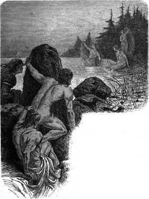 """Völundarkviða - """"The three smith boys spy and later marry three valkyrie maidens"""" (1882) by Friedrich Wilhelm Heine."""