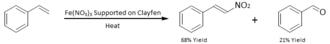Nitroalkene - Image: Direct nitration of styrene using Fe NO3 on a Clayfen support