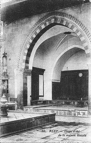 Beit Ghazaleh - Ġazaleh House Iwan in Aleppo  (Postcard 1918-1922)