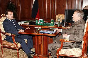 Жириновский Владимир Вольфович Википедия В В Жириновский и президент России Д А Медведев 30 июня 2008 года