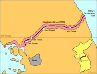 Korean Armistice Agreement - The Demilitarized Zone compared to the earlier 38th parallel de facto border