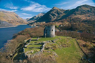 Dolbadarn Castle - The castle seen from the north-west, showing (near to far) the hall, the courtyard, the west tower, the east building, the keep and the south tower