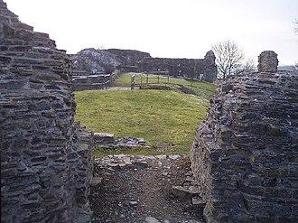 Dolforwyn Castle - A view through the main gateway into Dolforwyn Castle.
