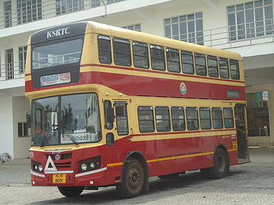 A double decker bus at angamaly KSRTC Bus Stand