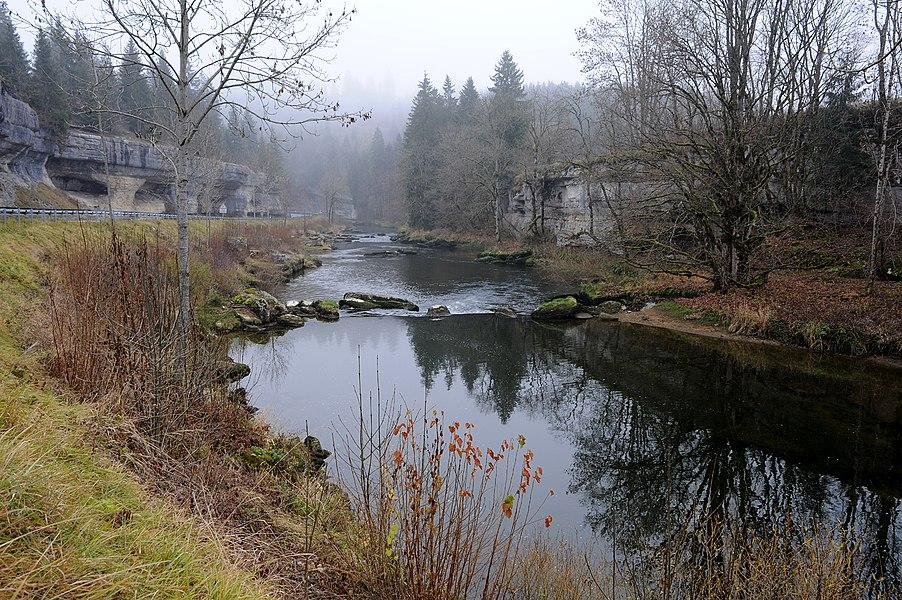 Doubs river near Défilé d'Entreroche; department Doubs, France.