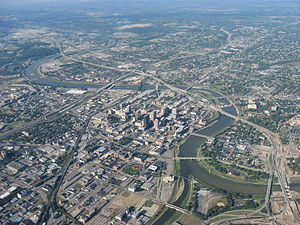 Dayton, Ohio - Aerial view of Downtown Dayton (NE to SW)