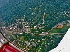 Sylva, North Carolina - Downtown Sylva from an airplane in 2003