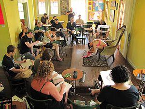 Molly Crabapple - Dr. Sketchy's at Avant Garden bar in Houston, Texas, 2010