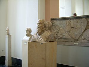 Double Herm of Socrates and Seneca - View of Socrates and the herms location in the Pergamonmuseum