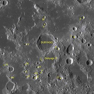 Dubyago (crater) - Satellite craters of Dubyago