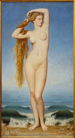 Glabrousness - La Naissance de Venus, by Eugène Emmanuel Amaury Duval (1808–85), portrays the goddess of love Venus with no pubic or underarm hair.
