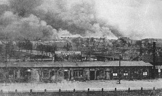 Warszawa Gdańska station - Gdanska railroad station looking toward the Warsaw Ghetto Uprsing in 1943