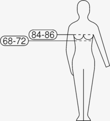 32f9fa8d9 Pictogram for the European bra size 70B using EN 13402-1