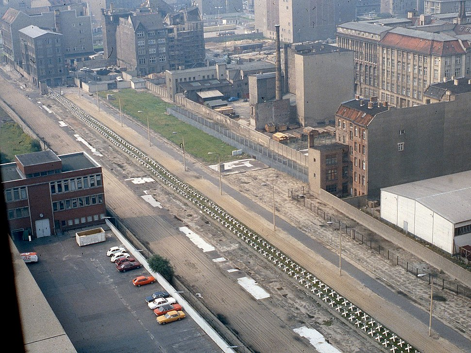 East Berlin Death Strip seen from Axel Springer Building 1984